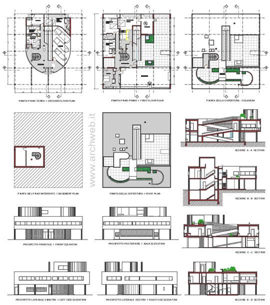 Villa savoye 2d villa savoye dwg for Ville architetti famosi