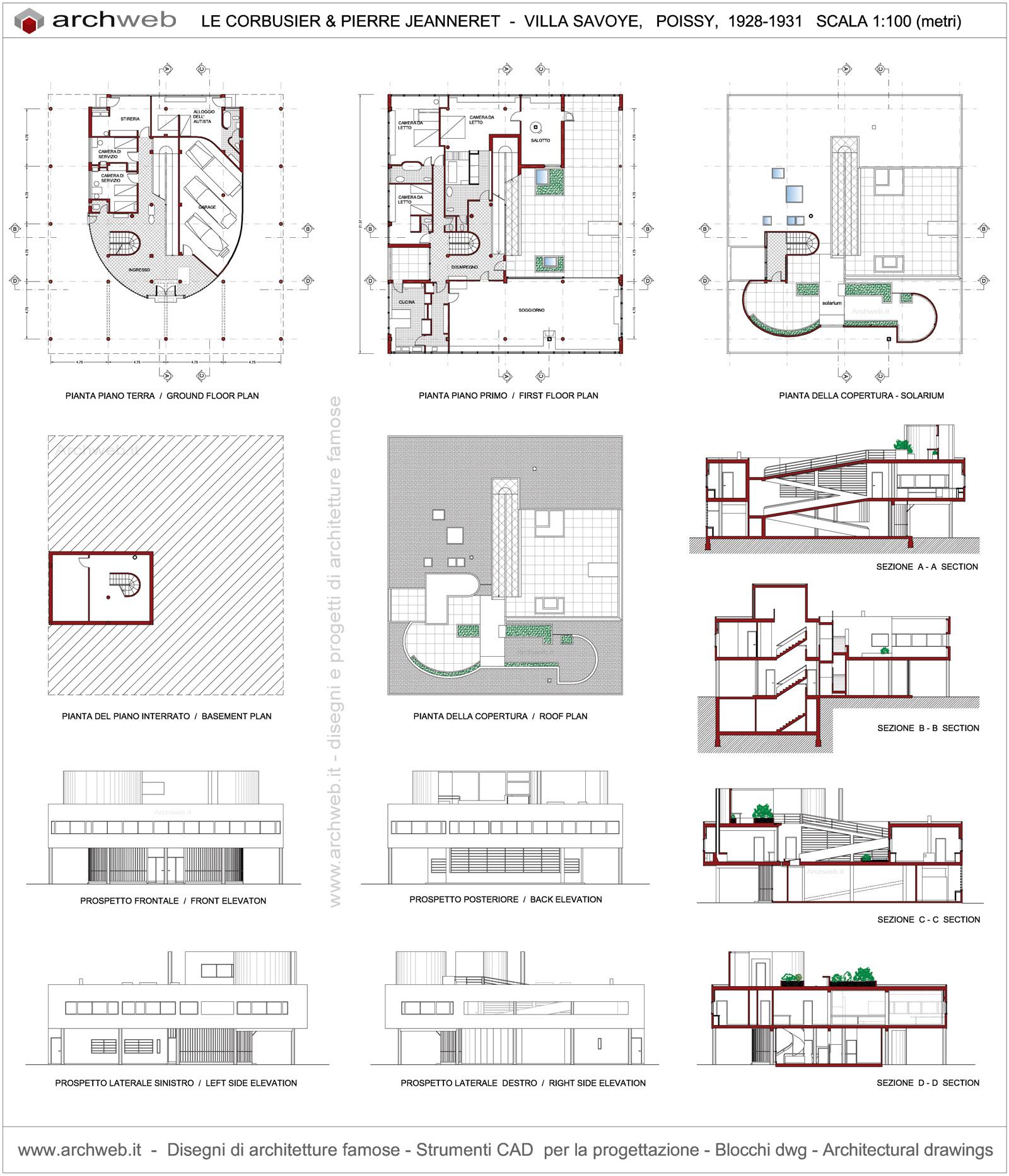 Modern floor plan of villa joy studio design gallery for Villa plan dwg