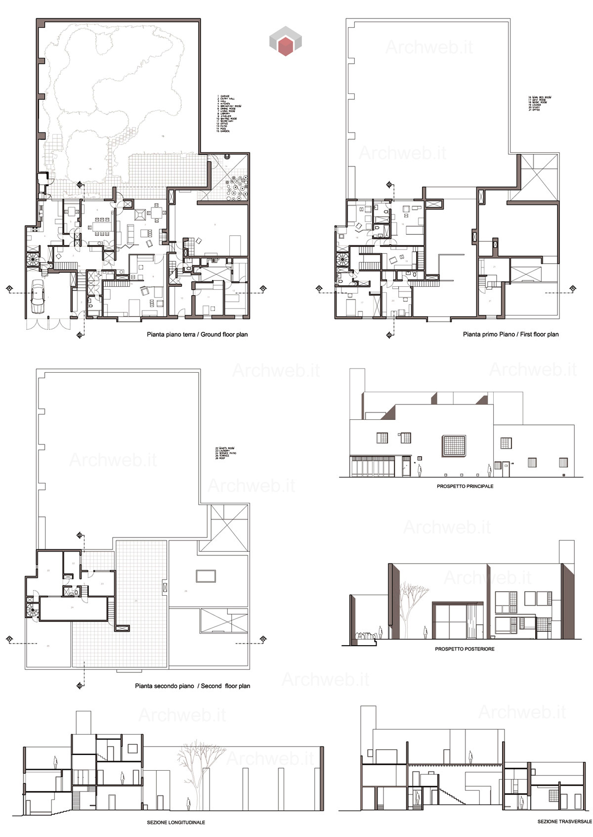 Barrag n house and studio dwg drawings for Archweb arredi