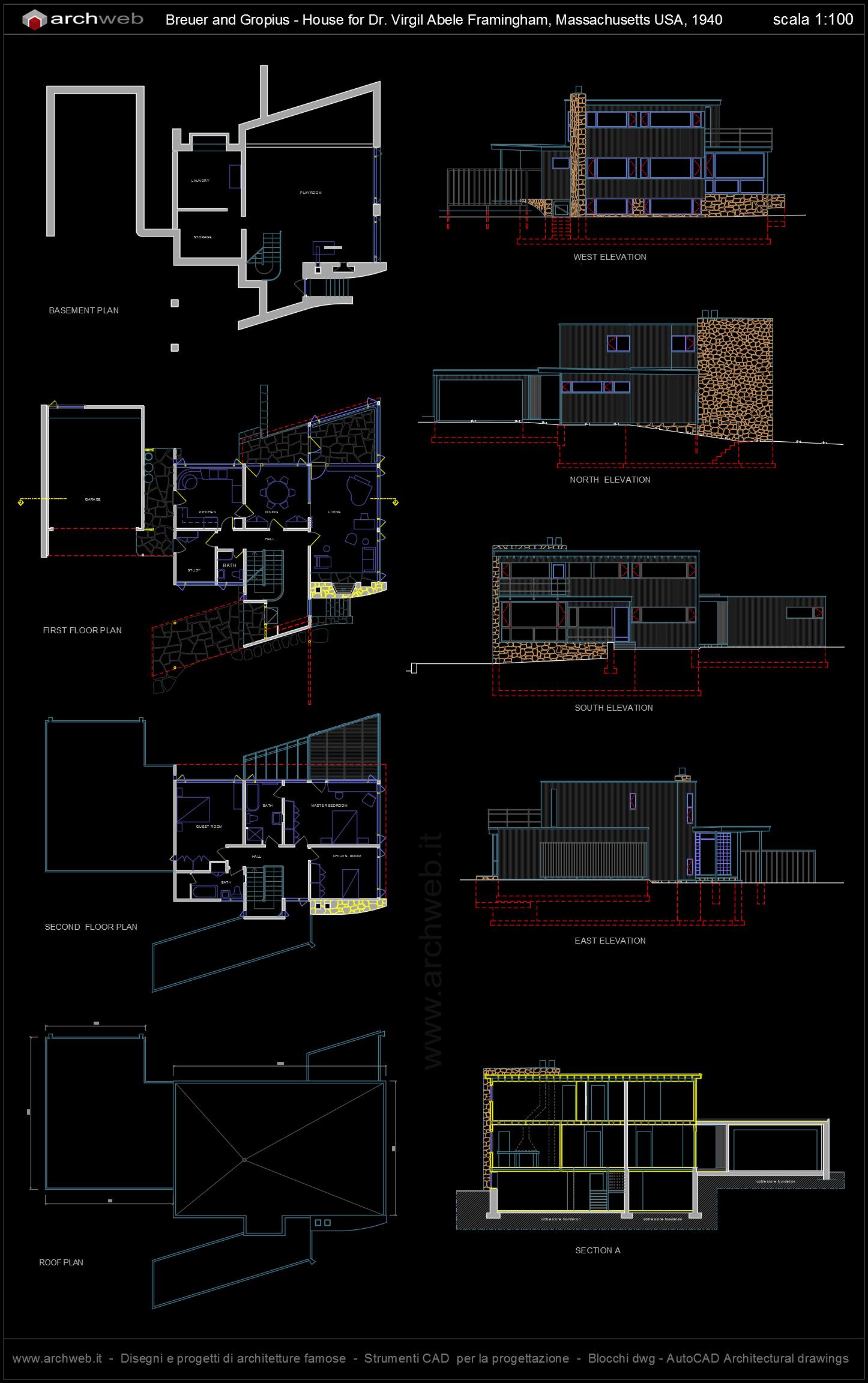 Abele house breuer and gropius autocad plan for Autocad arredi