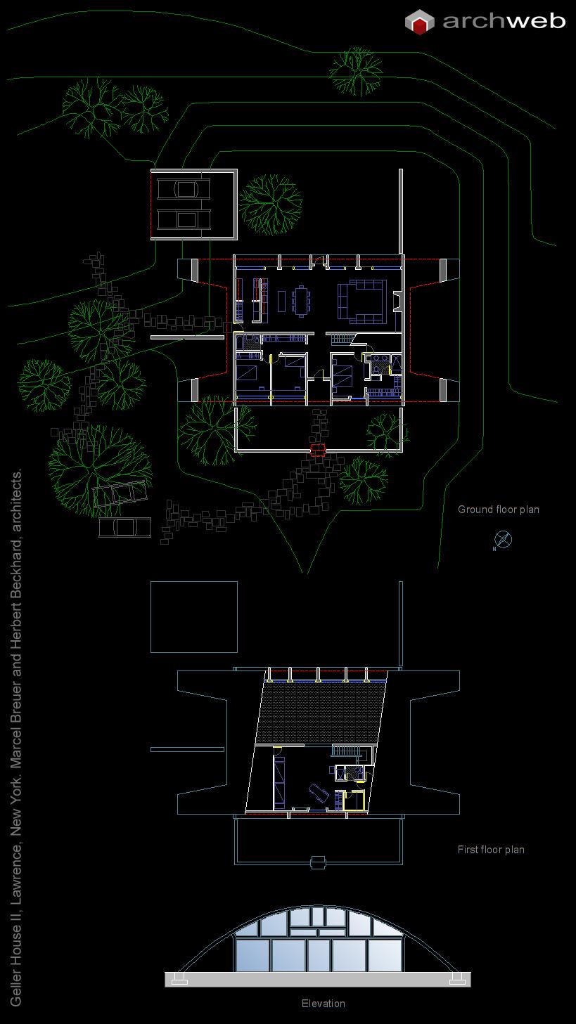 Geller house ii breuer autocad dwg for Autocad arredi
