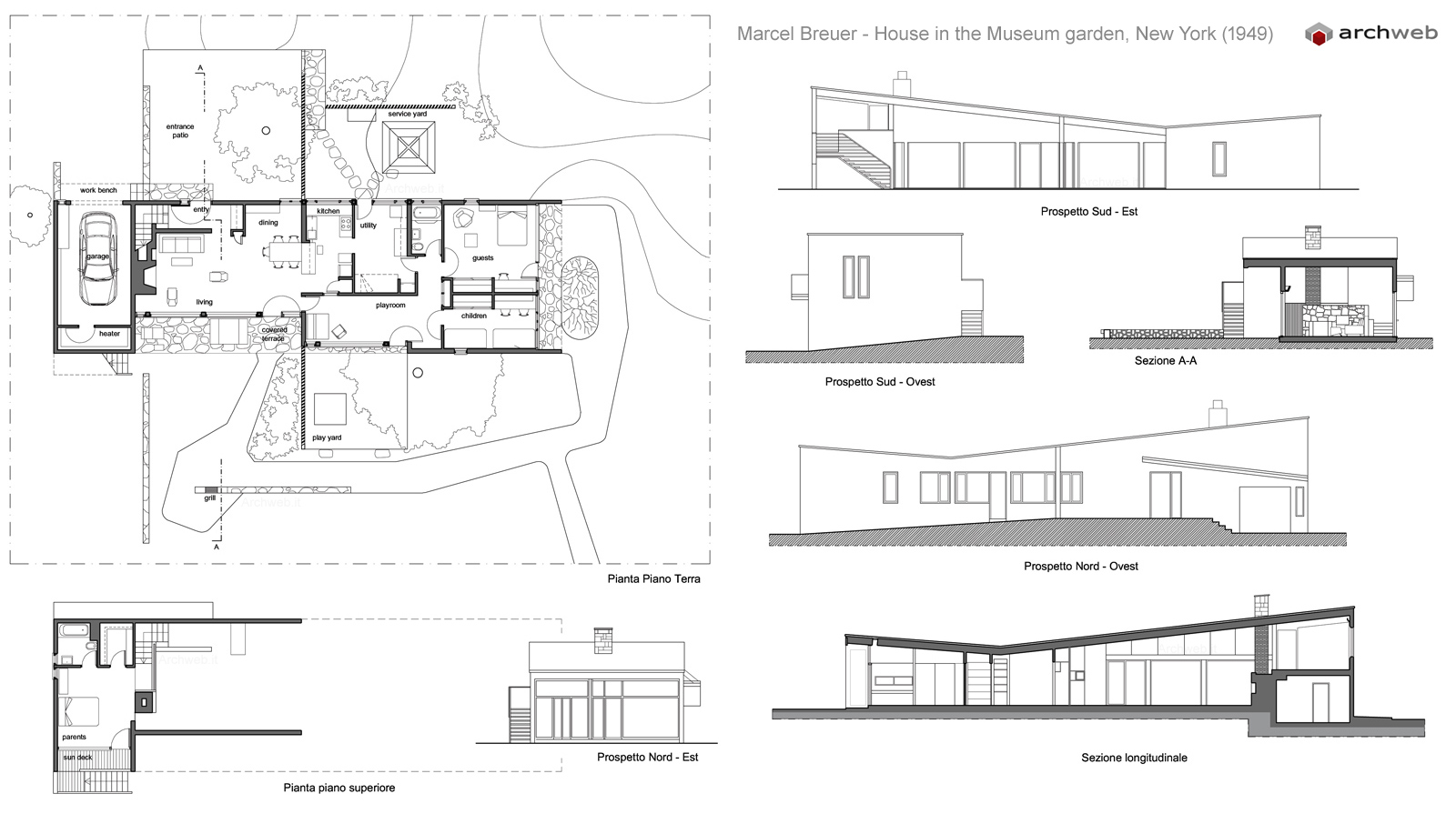 House in moma garden breuer drawings plan for Moma arredi