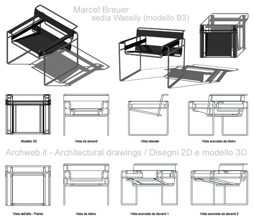 Wassily chair sedia modello b3 for Arredi design dwg