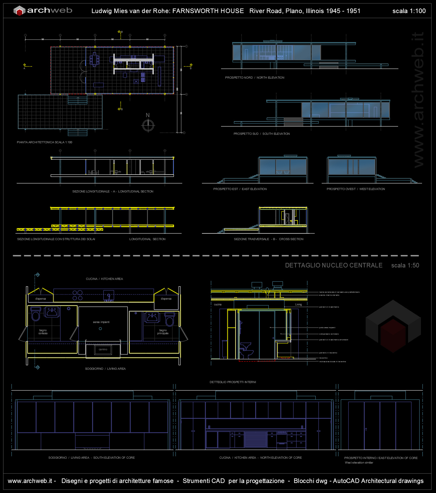 Farnsworth house autocad dwg for Arredi 3d dwg