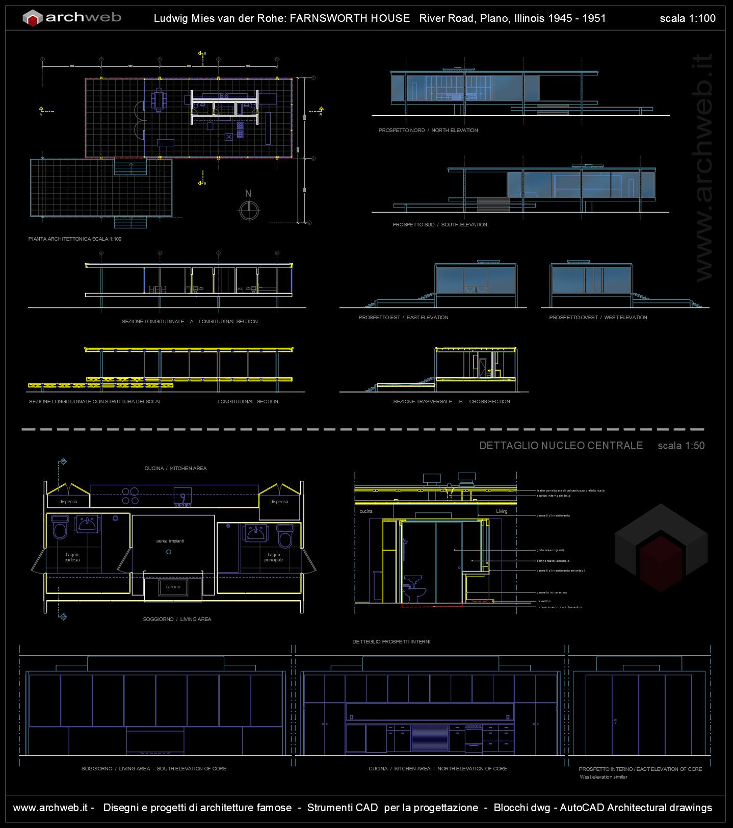 Draw A House Plan Farnsworth House Autocad Dwg