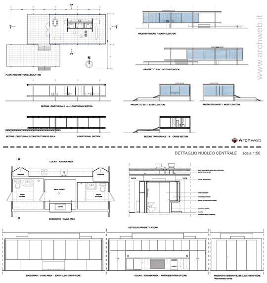 Farnsworth house dwg 2d for Generatore di blueprint gratuito
