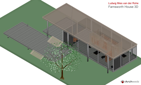 Farnsworth house dwg 3d model for Arredi 3d dwg