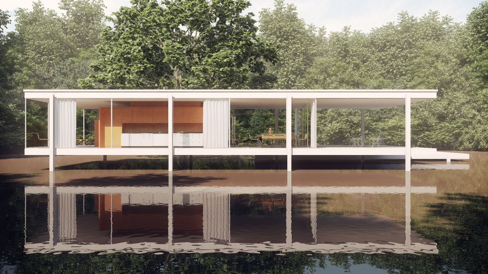 Farnsworth house dwg 2d for Arredi esterni dwg