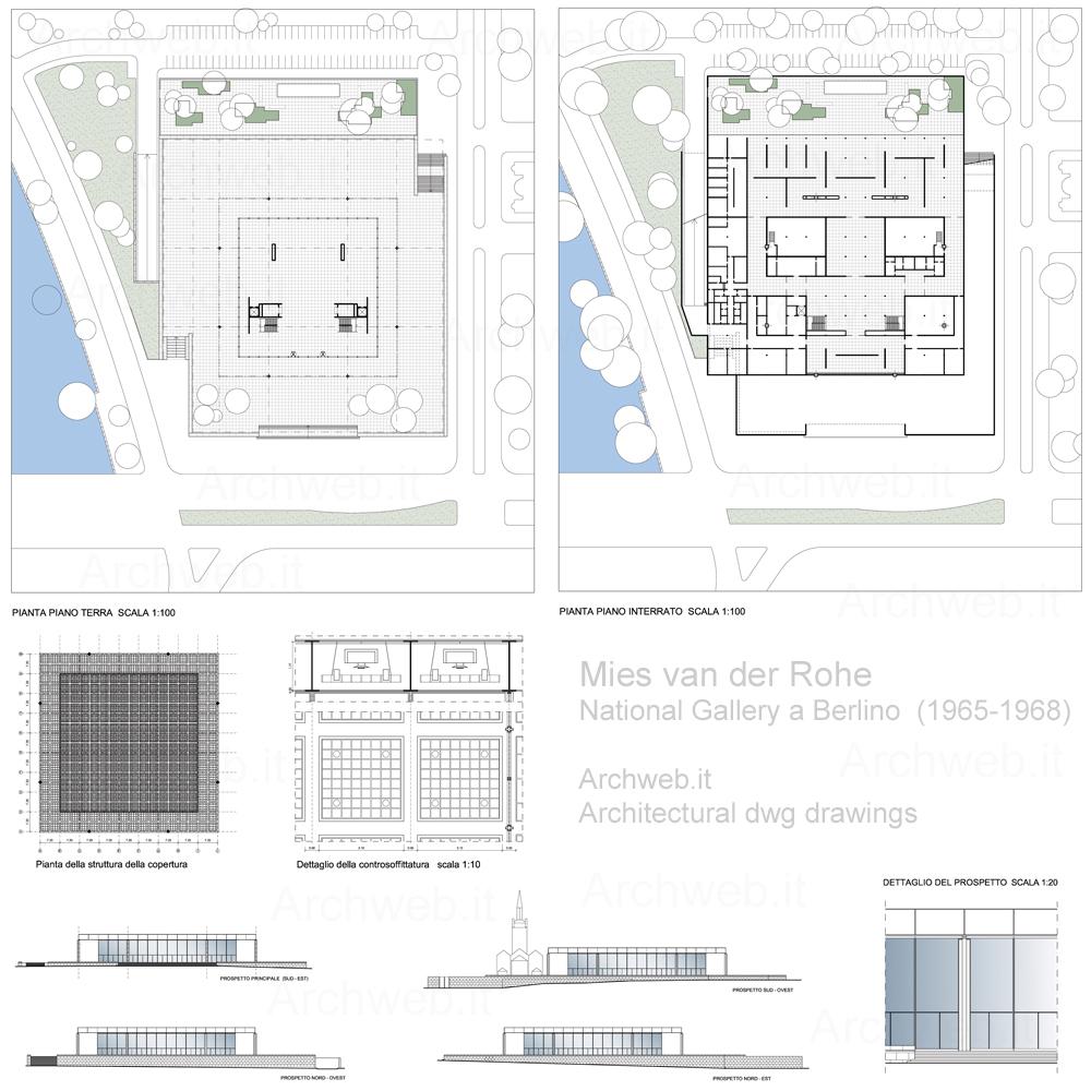 National gallery a berlino di mies for Come progettare una pianta del piano interrato