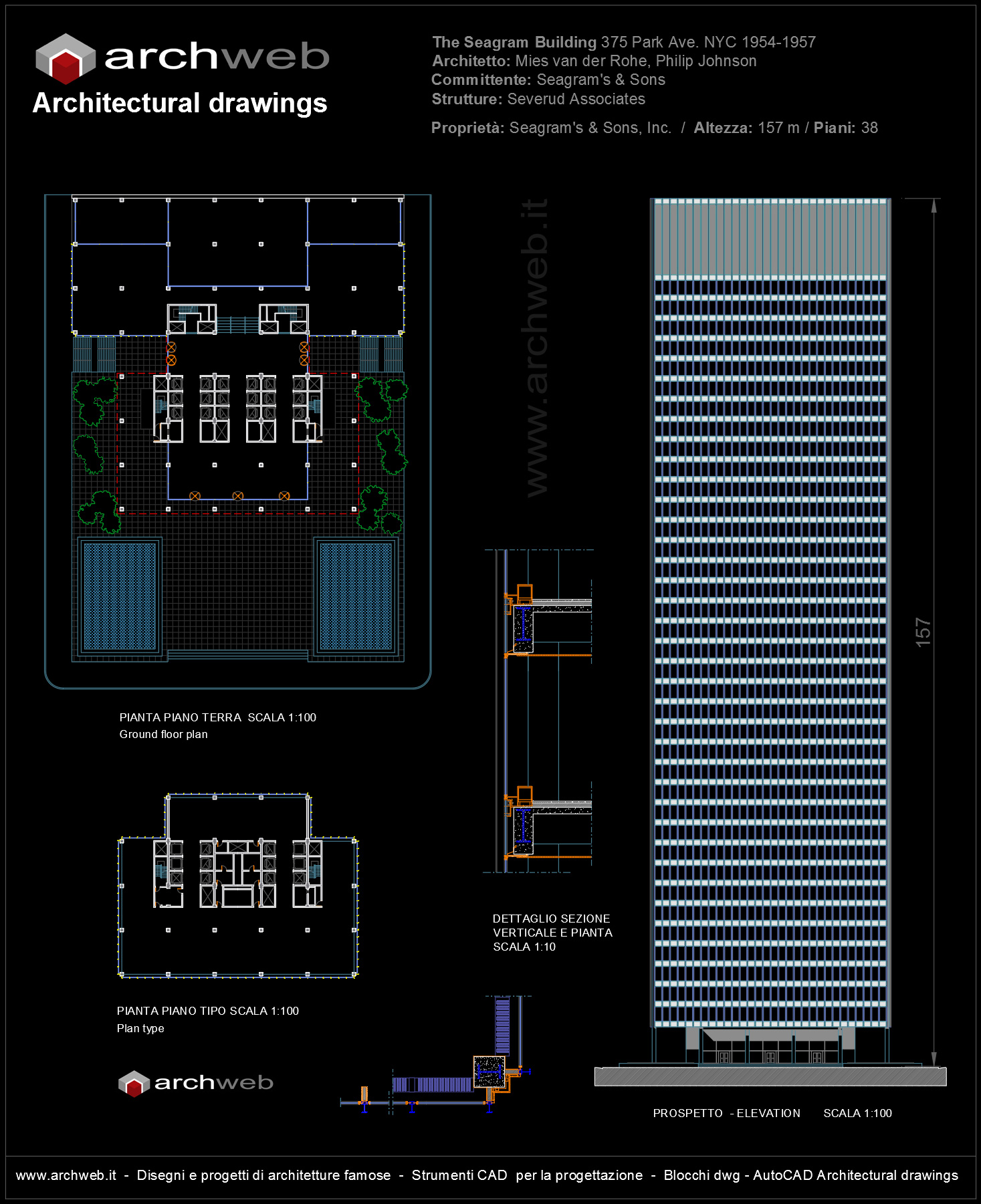 Seagram Building Autocad Plan 2d