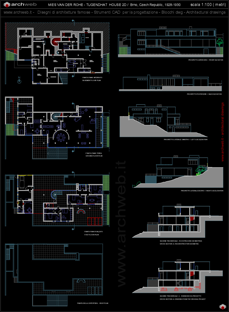 Tugendhat house autocad dwg for Arredi design dwg