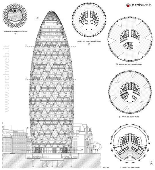 30 St Mary Axe Swiss Re Tower Drawings