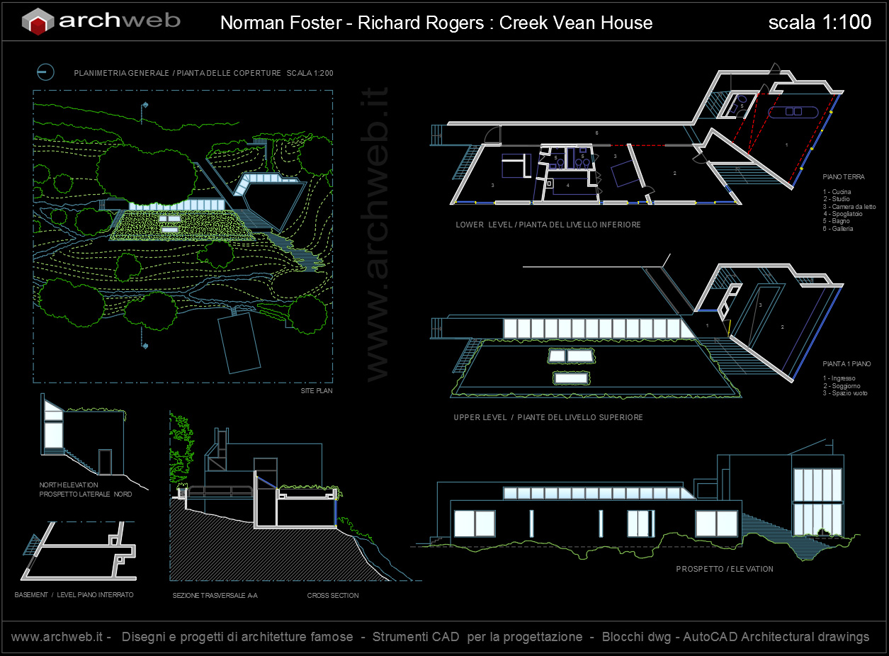 Pianta Camera Da Letto Dwg : Creek vean house autocad dwg