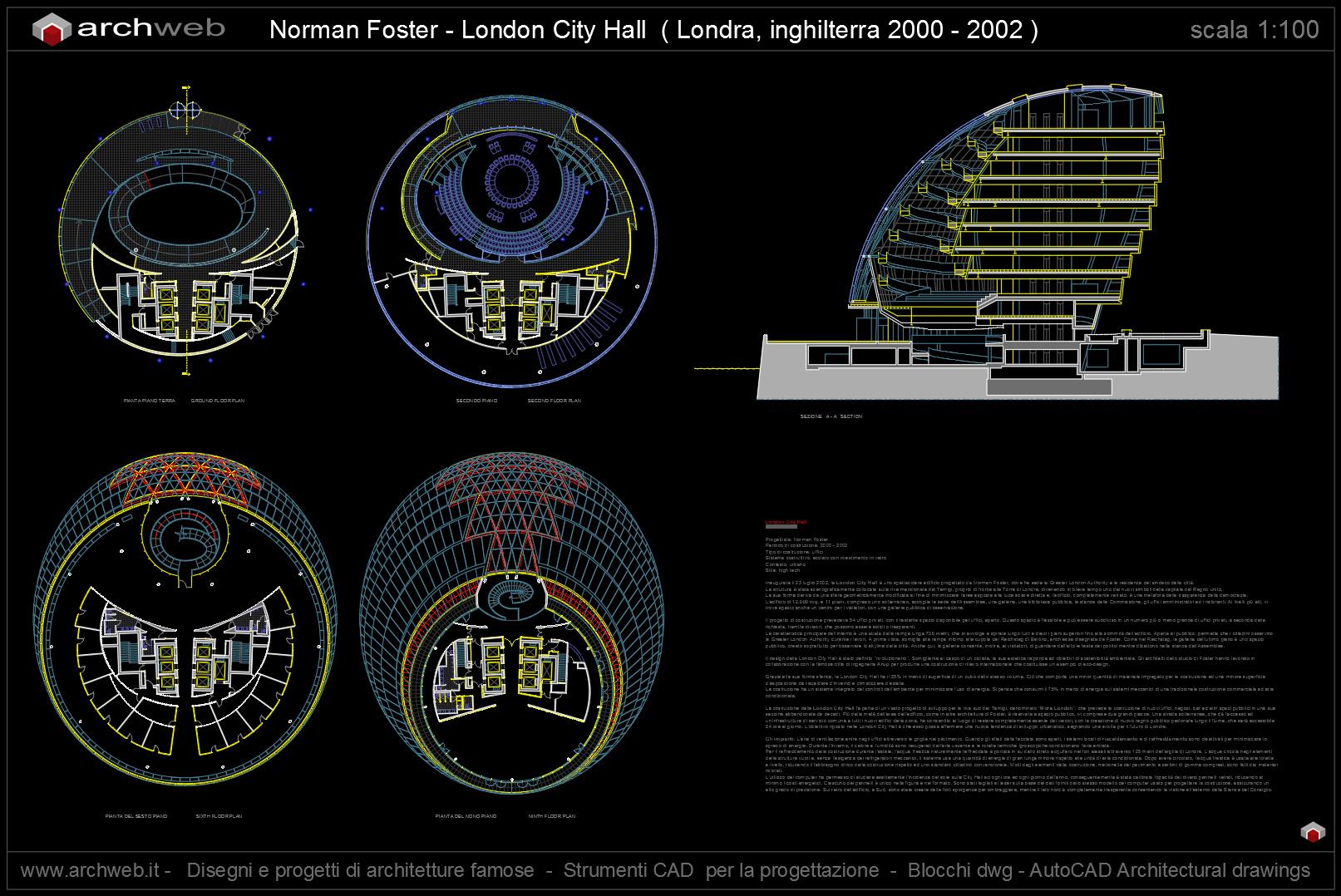 London city hall autocad plan for Autocad arredi