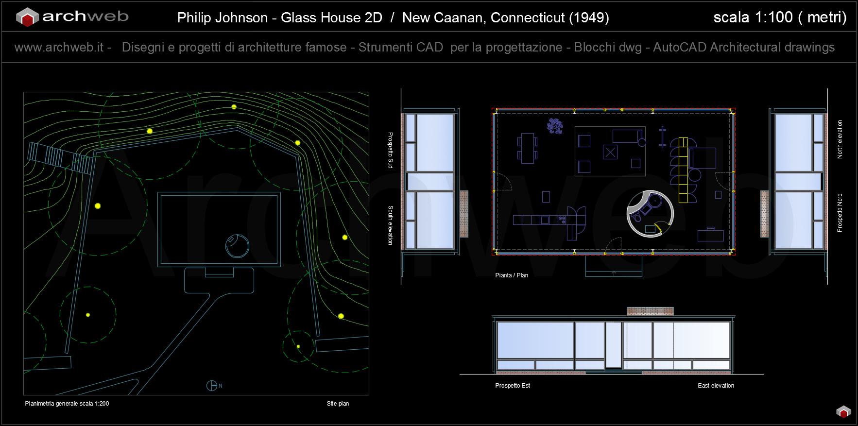 Glass house autocad plan for Autocad arredi