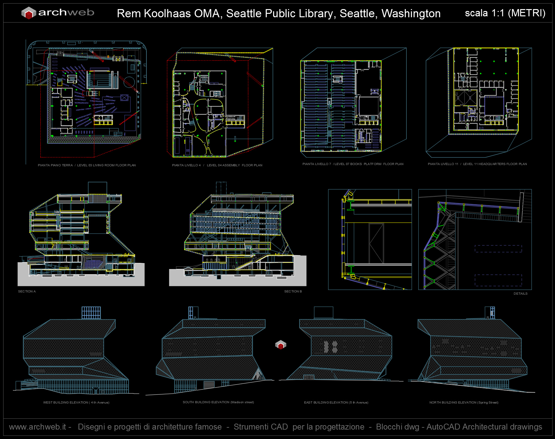 Seattle library autocad dwg for Autocad arredi