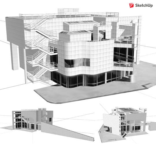 Richard meier atheneum 3d for Arredi dwg gratis