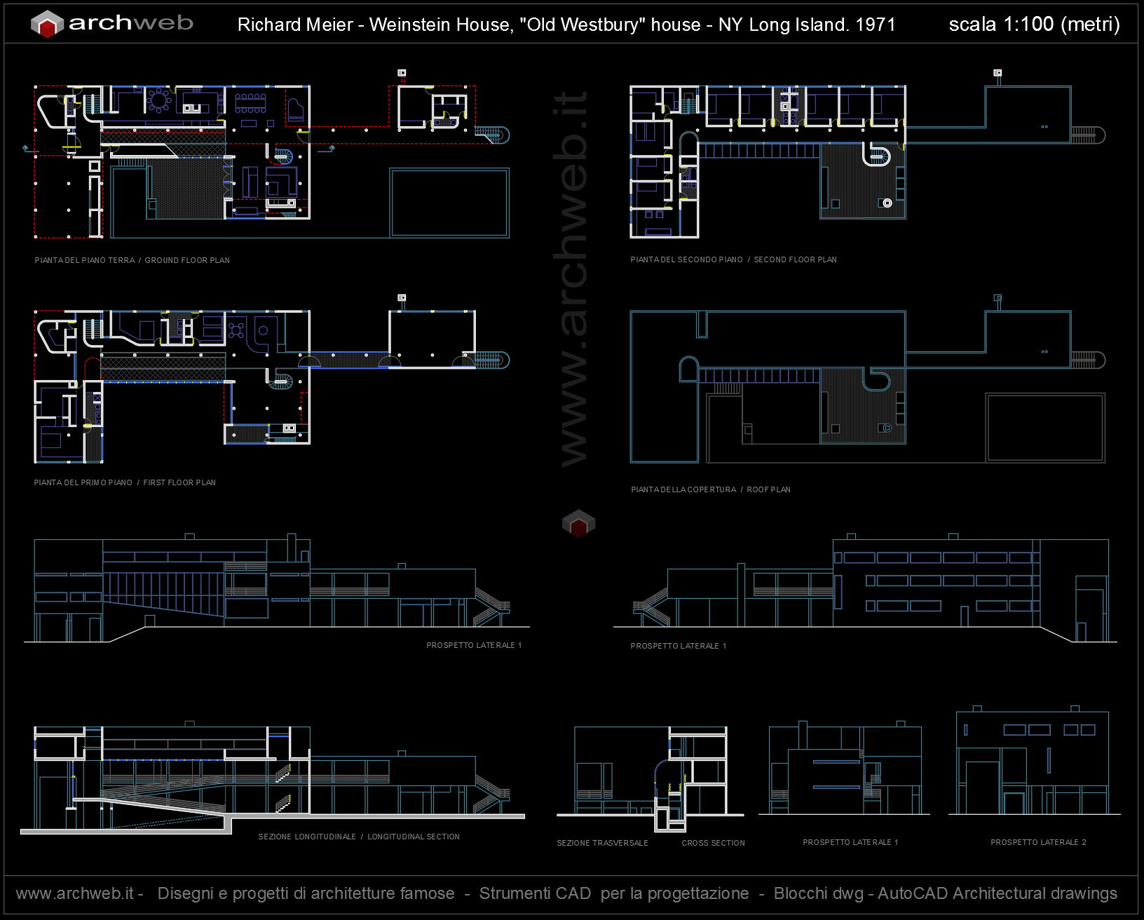 House in old westbury autocad dwg plan for Autocad arredi