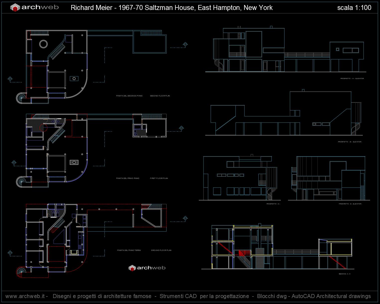 Saltzman house autocad dwg plan for Autocad arredi