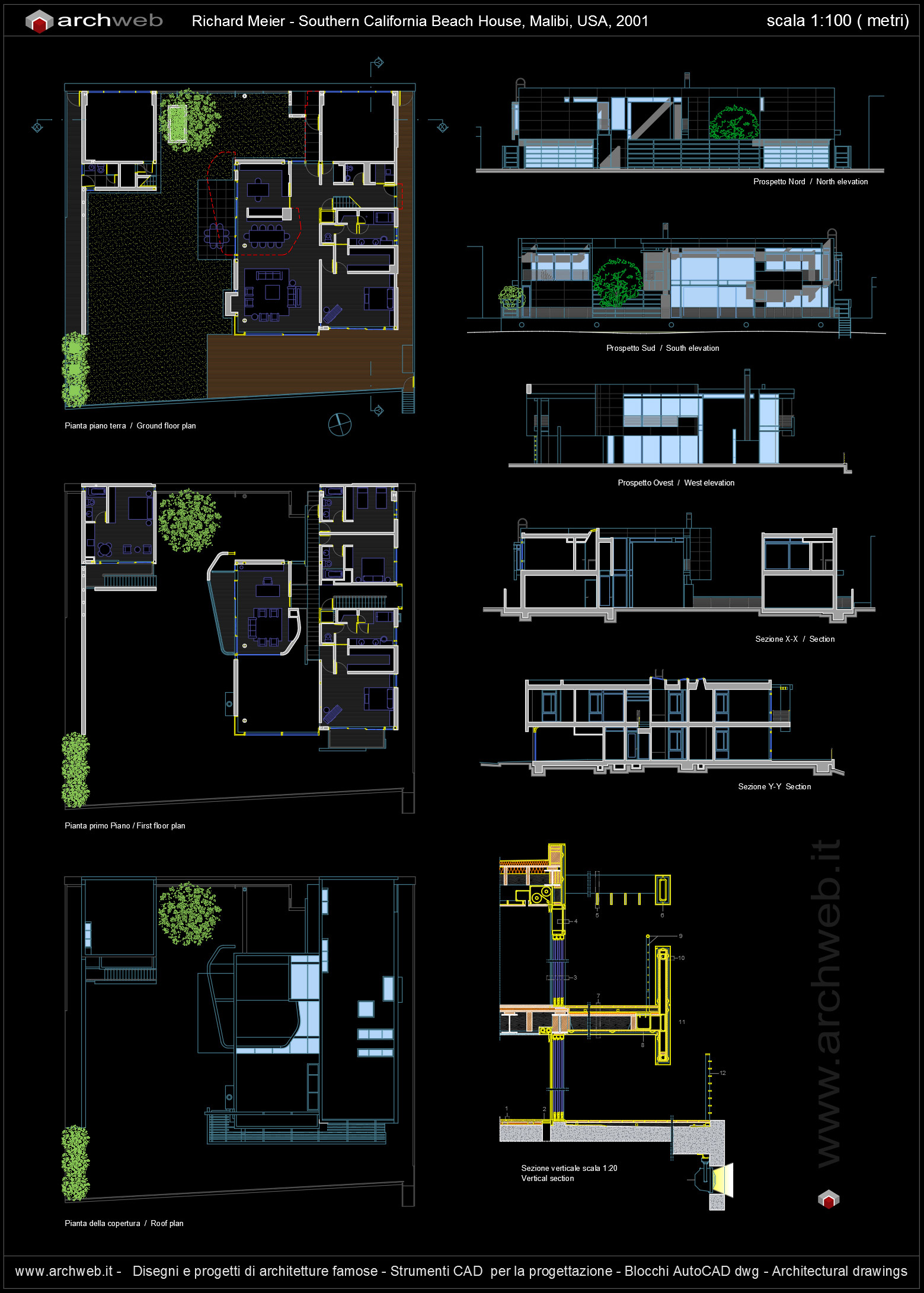 southern california beach house autocad dwg