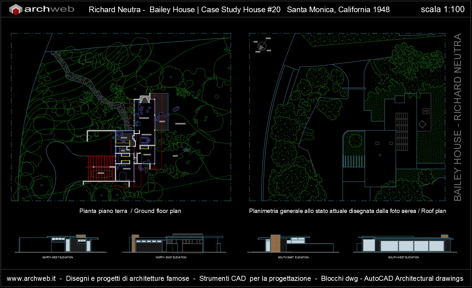 Bailey house case study house 20 autocad dwg for Arredi 3d dwg