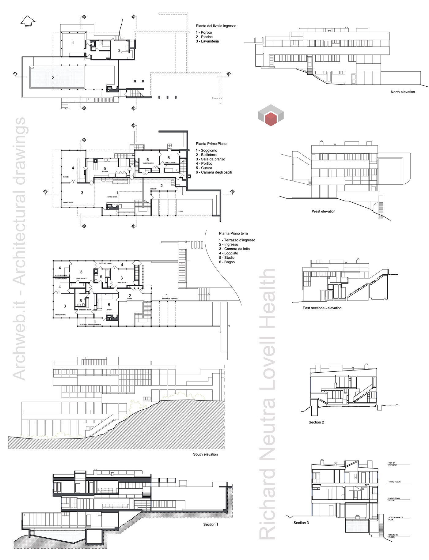 Lovell health house dwg progetto di r neutra for Healthy home plans