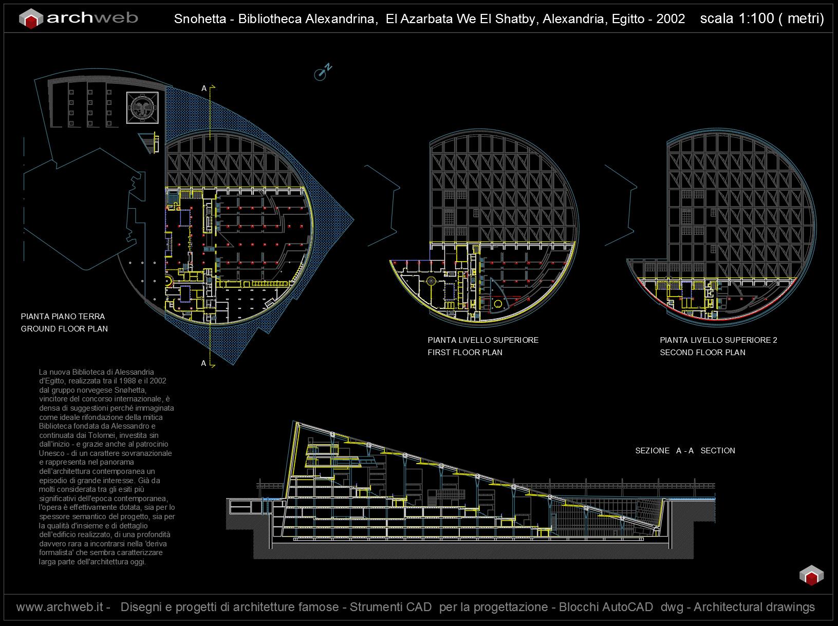 Alexandria library progetto autocad for Progetto casa autocad