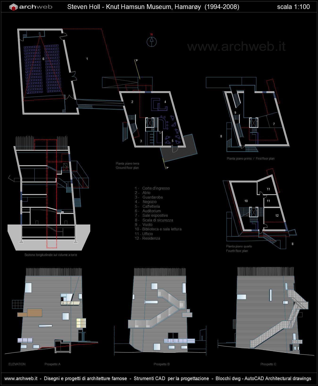 Knut hamsun museum autocad plan for Autocad arredi