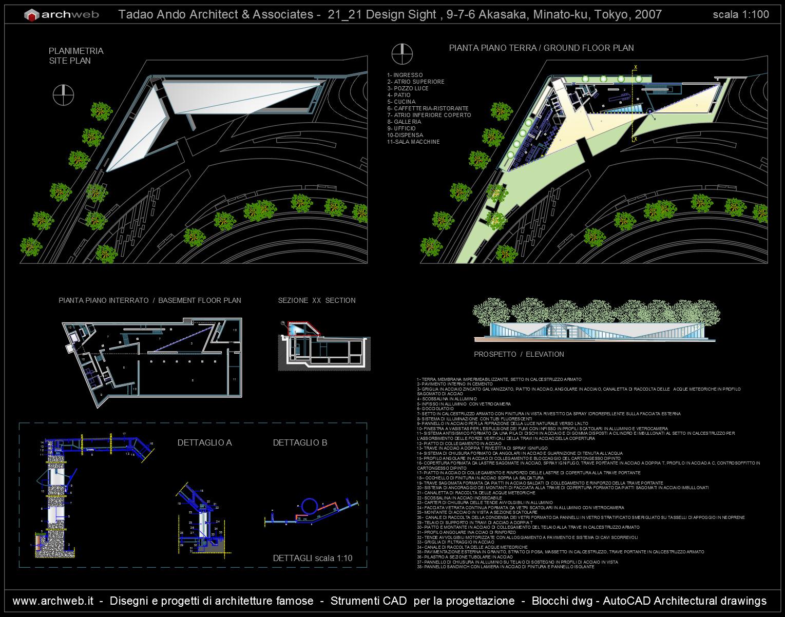 Tadao ando 21 21 design sight autocad dwg for Autocad arredi