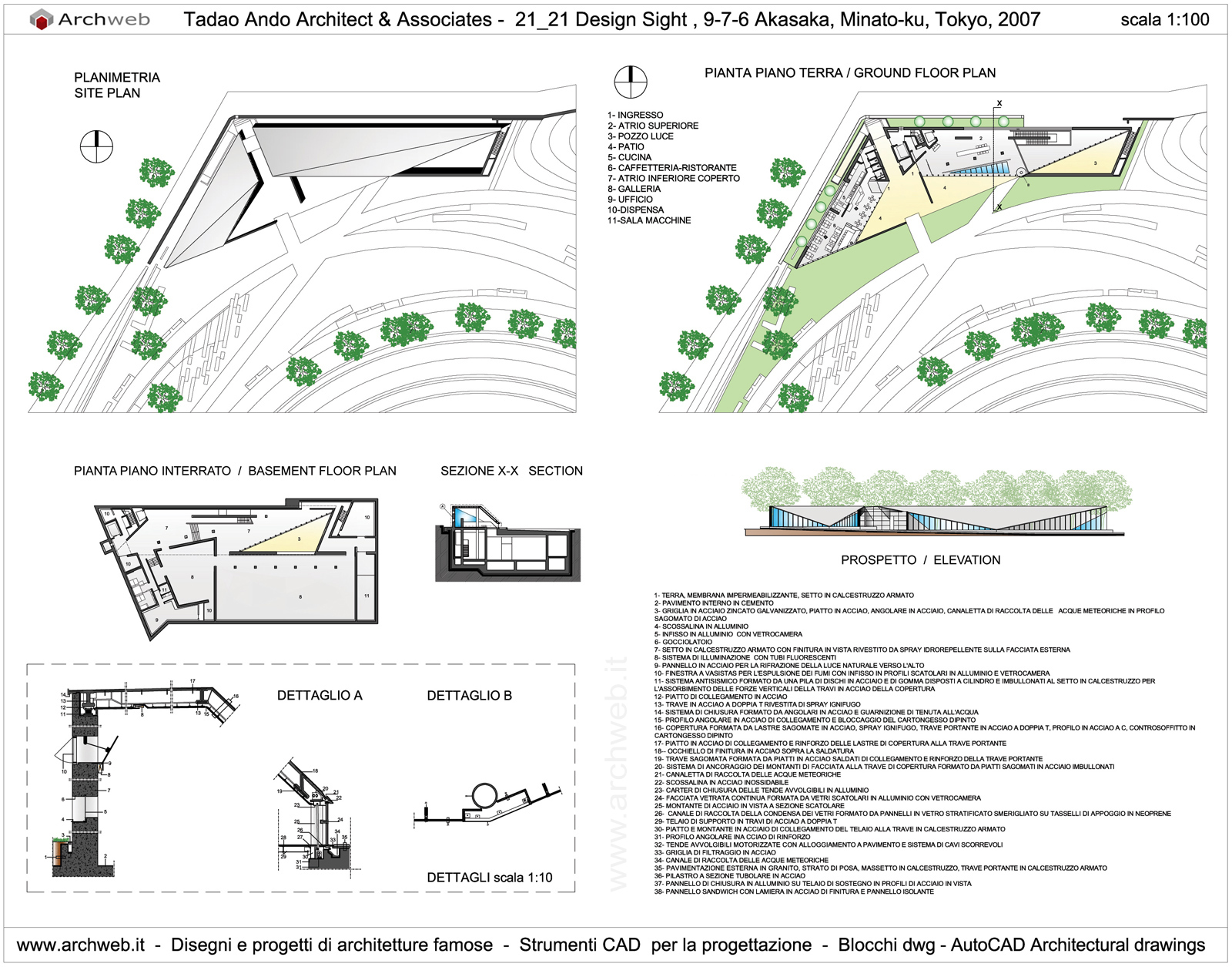 Tadao Ando 2121 Design Sight Drawings Plan