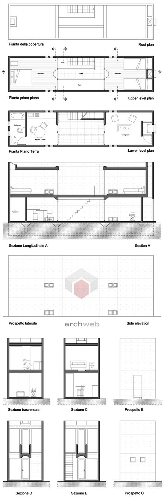 Azuma house plan dwg escortsea for Row house dimensions
