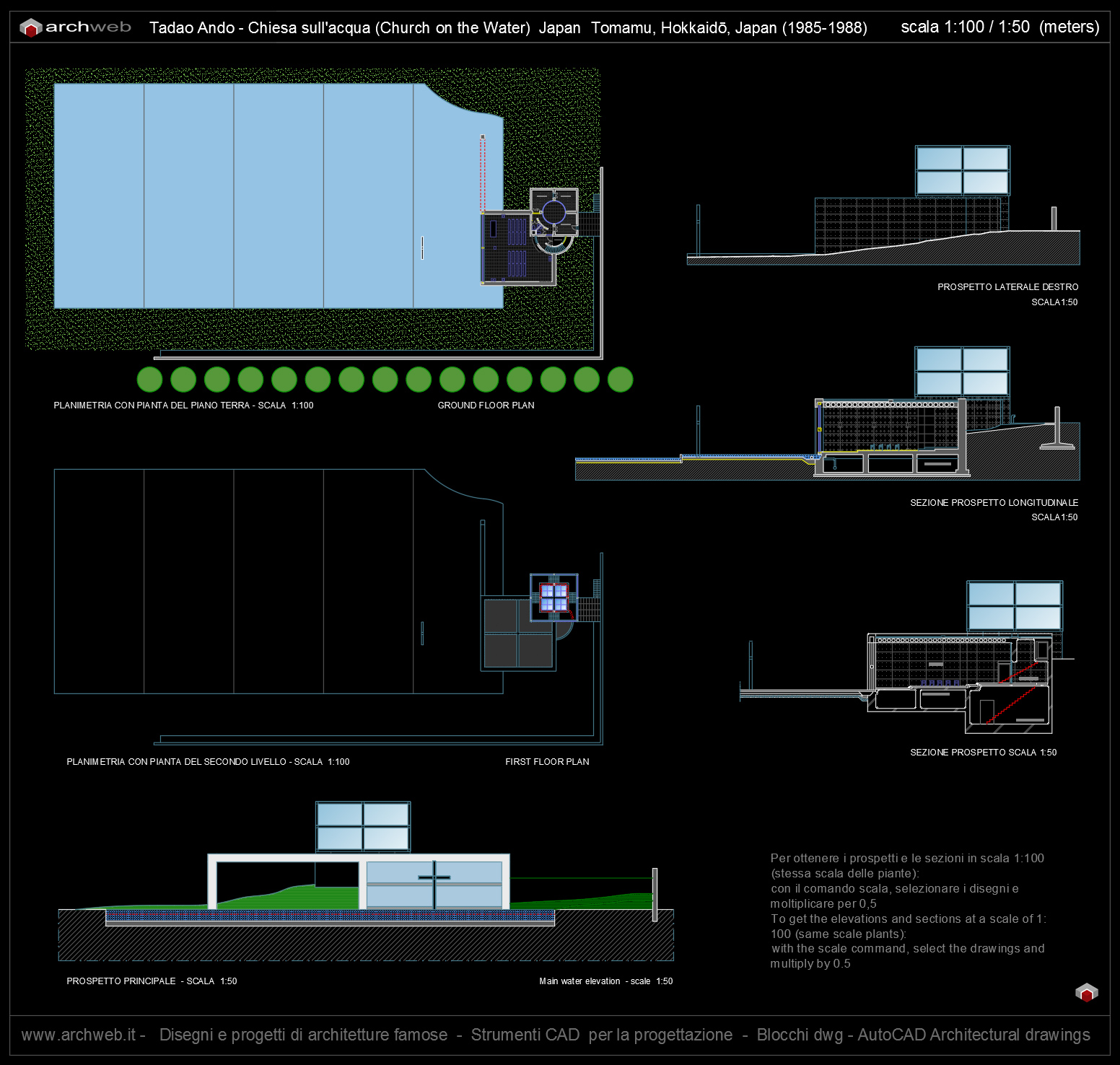 Church on the water autocad plan for Autocad arredi