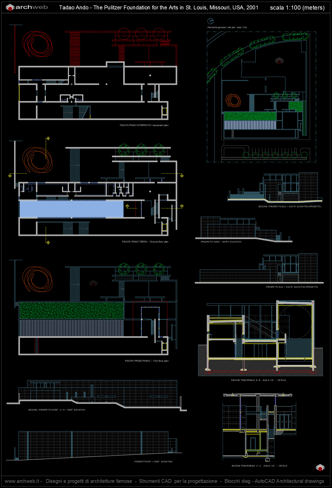 The pulitzer foundation autocad drawings for Autocad arredi