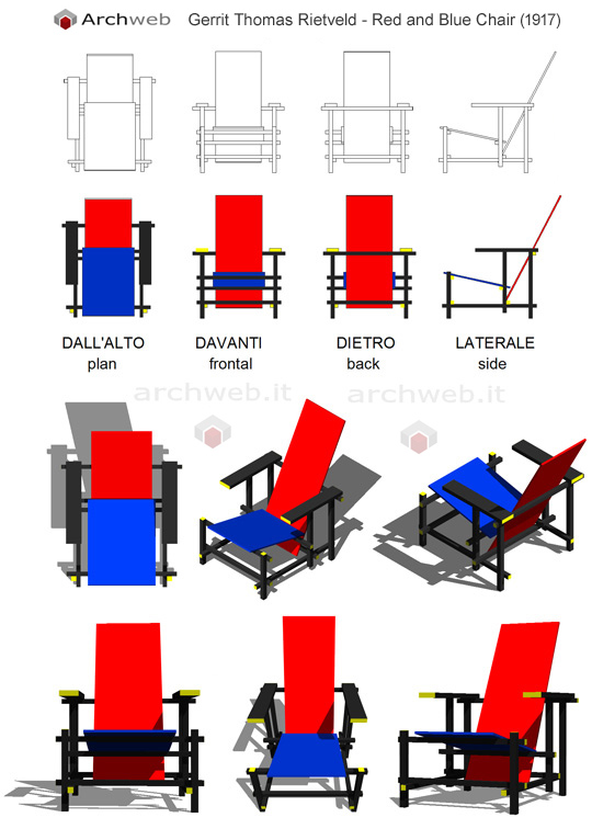 Sedia Red And Blue.Rietveld Red And Blue Chair Sedia Design Rossa Sedia Di
