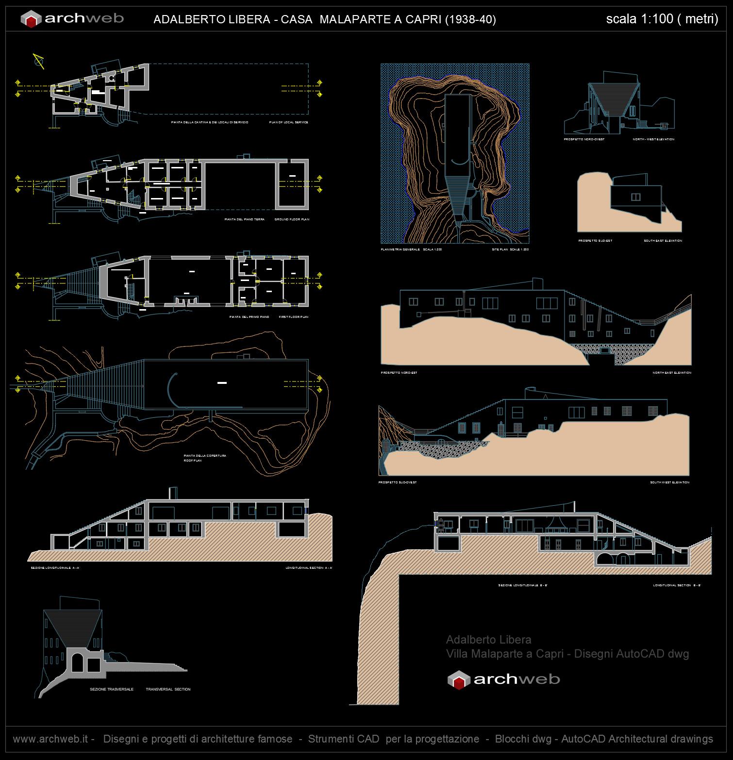 The House Plan Villa Malaparte A Capri Progetto Autocad Dwg