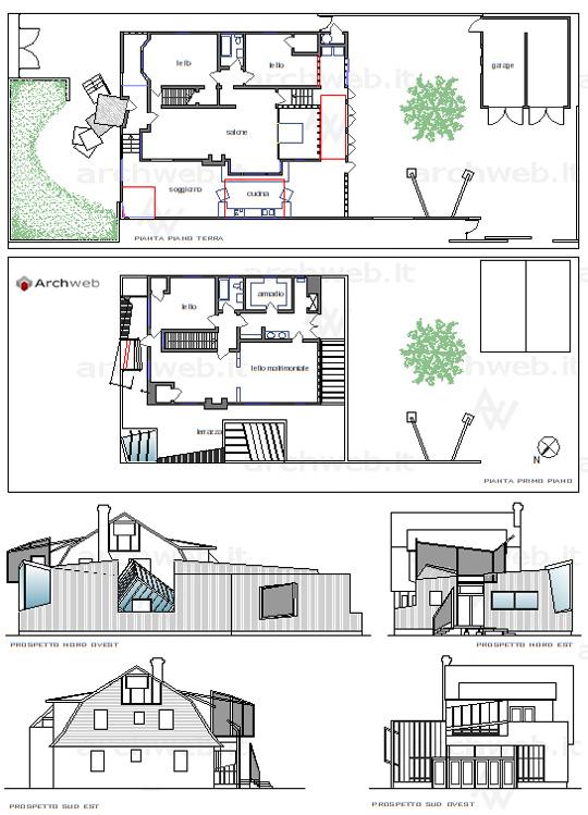 Gehry house santa monica 2d for Arredi autocad