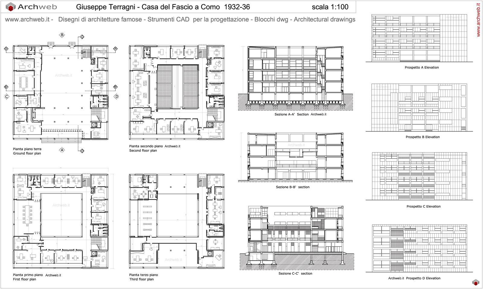 Giuseppe terragni casa del fascio drawings for Arredi spogliatoi dwg