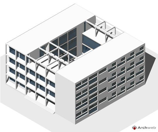 Giuseppe terragni casa del fascio a como 3d for Modelli case 3d