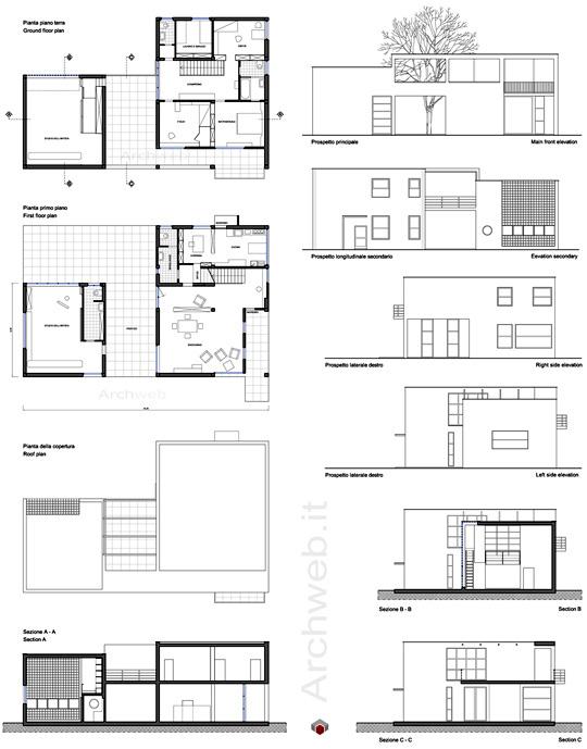 Casa sul lago per un artista disegni dwg for Piani di casa sul lago per lotti ripidi