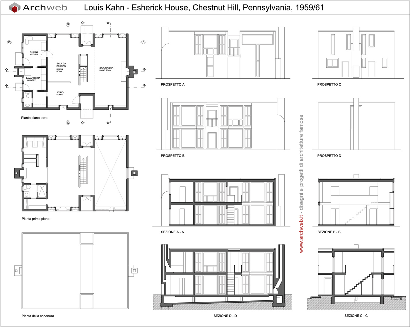 Esherick house by louis kahn layouts pinterest louis for Ron lee homes floor plans