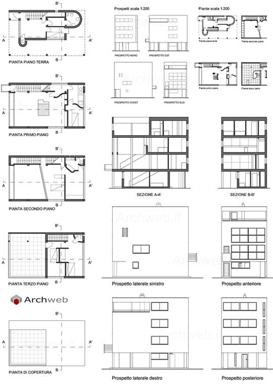 Casa nel quartiere weissenhof 2d citrohan house 1927 for Archweb uffici