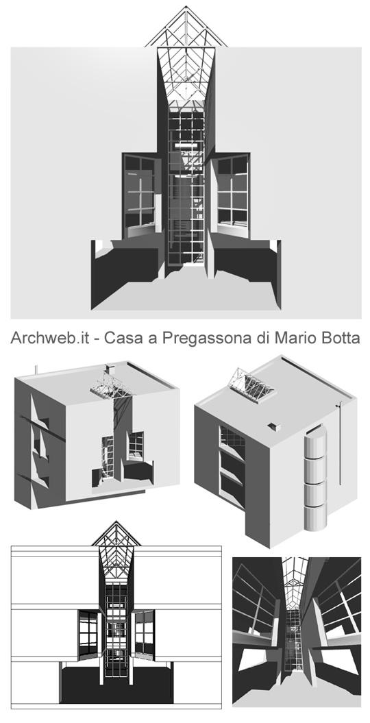 Mario botta casa a pregassona 3d - Casa unifamiliare dwg ...