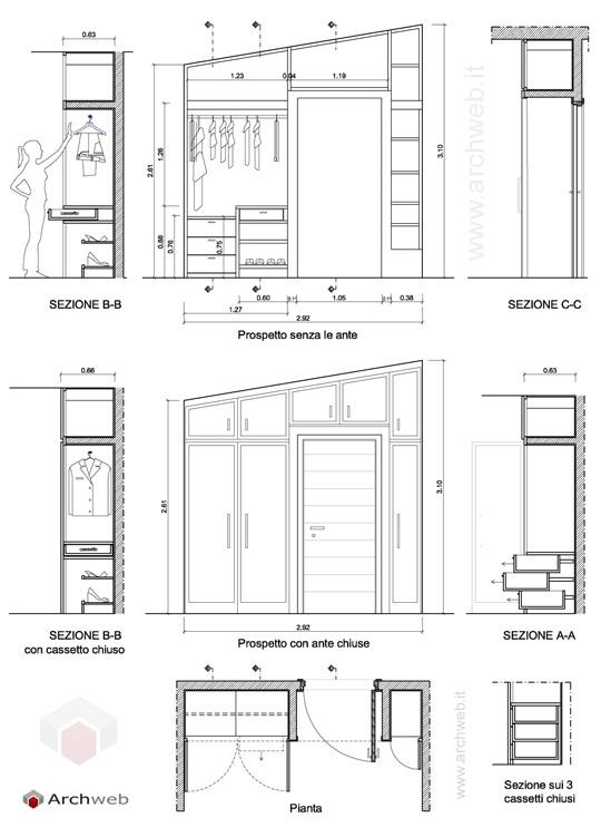 Progetto di un armadio a muro - Cabina armadio progetto ...
