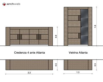 Mobili per soggiorno componibile - disegni dwg