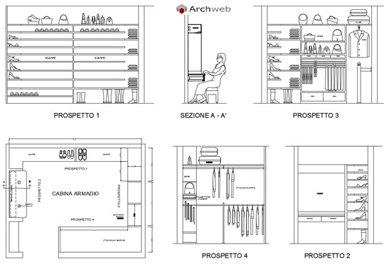 Armadio dwg idea creativa della casa e dell 39 interior design for Arredi per autocad