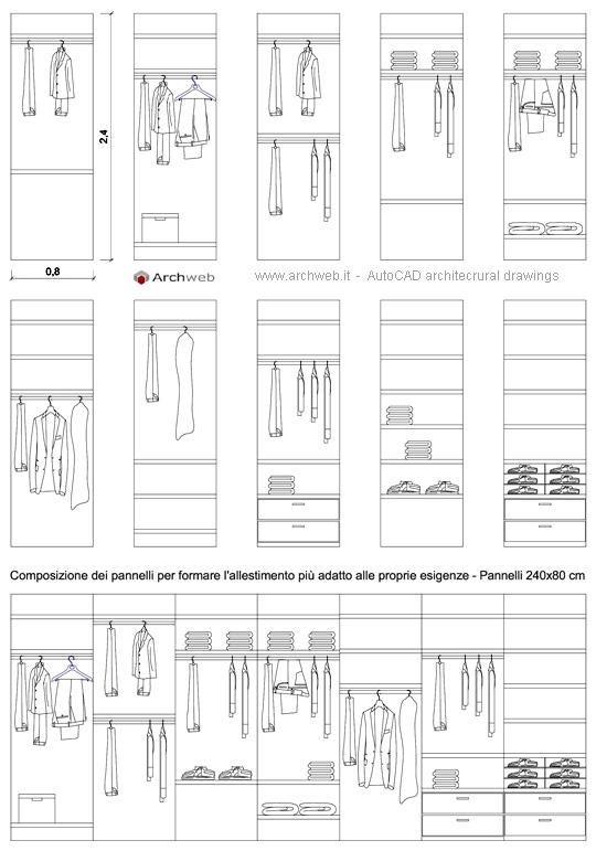 Moduli base per allestire una cabina armadio for Arredi per autocad