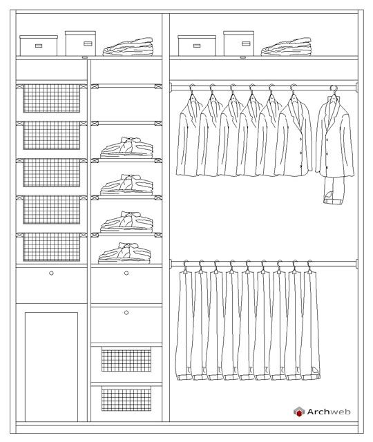 Schema per allestire una cabina armadio - Camera da letto dwg ...