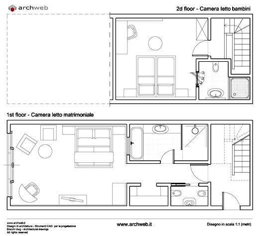 Soluzioni per una camera letto aggiuntiva senza tratteggi - Letto singolo dwg ...