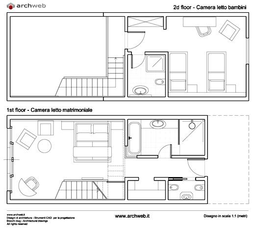Soluzioni per una camera letto aggiuntiva senza tratteggi for Camerette dwg