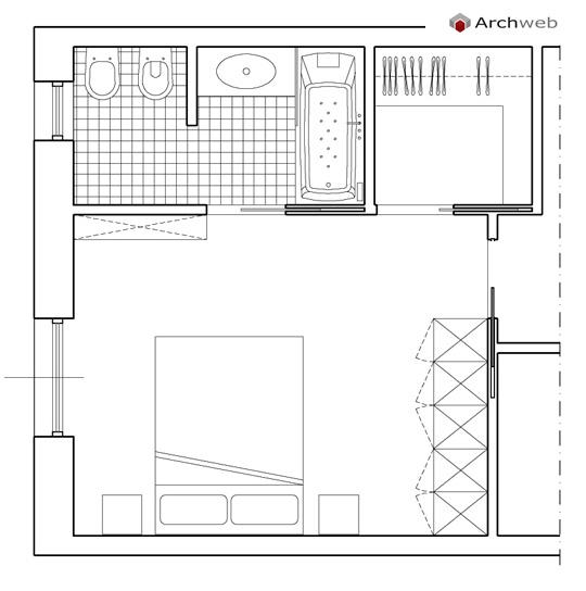 Camera da letto con cabina armadio e bagno - Camera da letto dwg ...